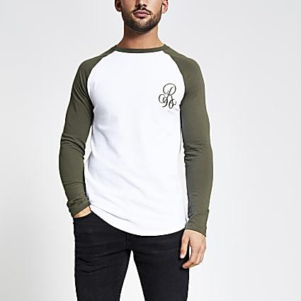 Khaki R96 raglan muscle fit T-shirt