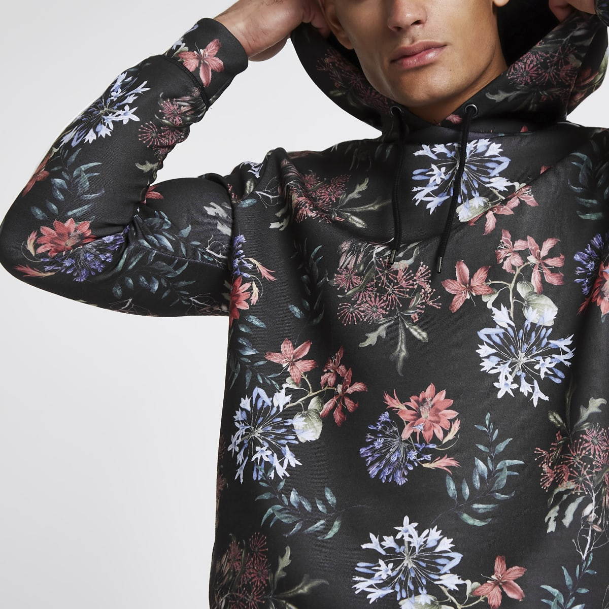 Black floral print slim fit piped hoodie