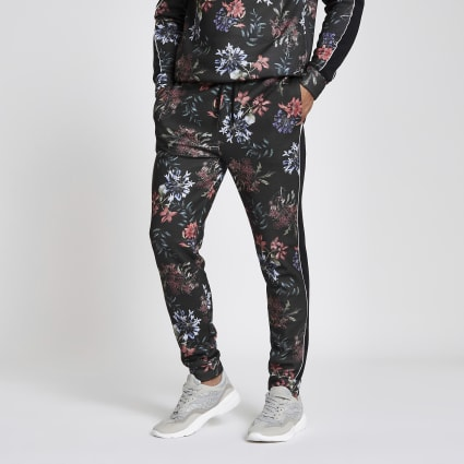 Black floral print slim fit piped joggers
