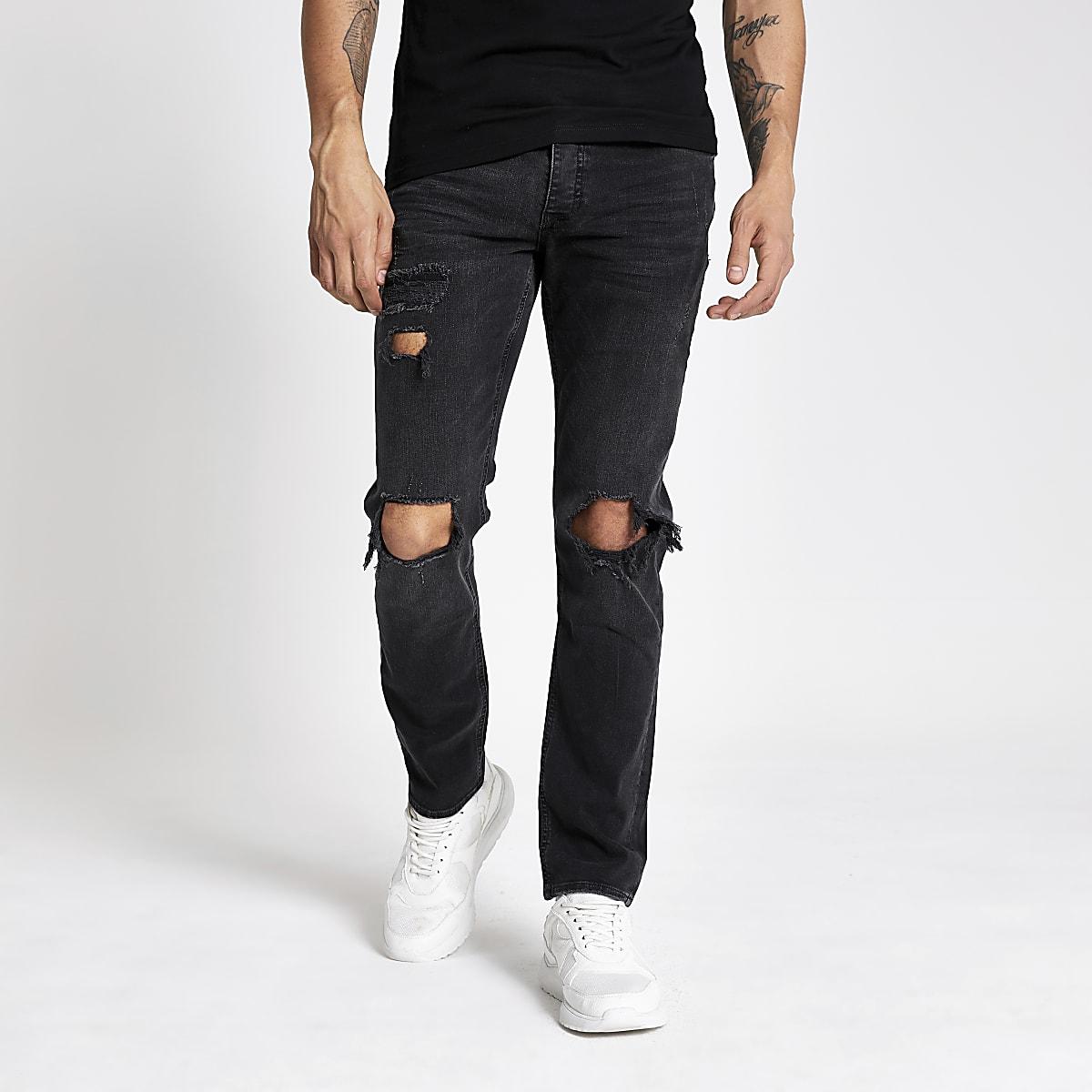 Dylan - Zwarte slim-fit ripped jeans