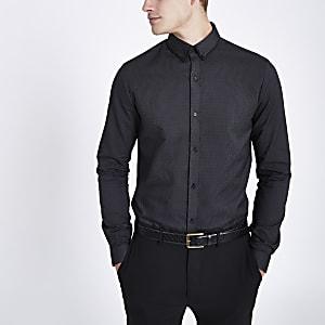 Grijs slim-fit overhemd met lange mouwen