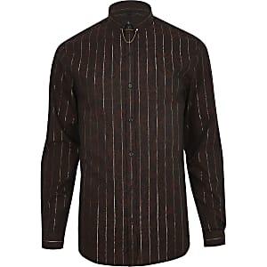 Braunes Jaquard-Hemd mit Metallic-Streifen