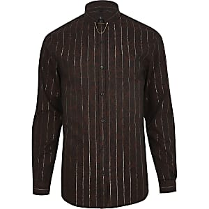 Bruin jacquard metallic gestreept overhemd