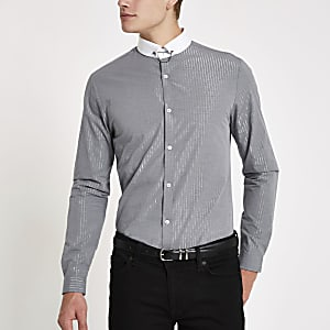 Grey metallic stripe long sleeve shirt