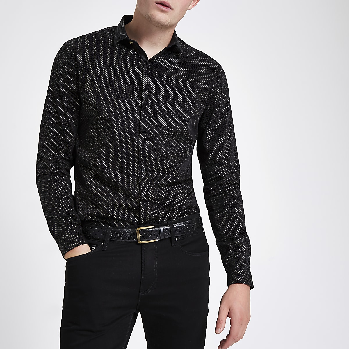 Black glitter spot print button-down shirt