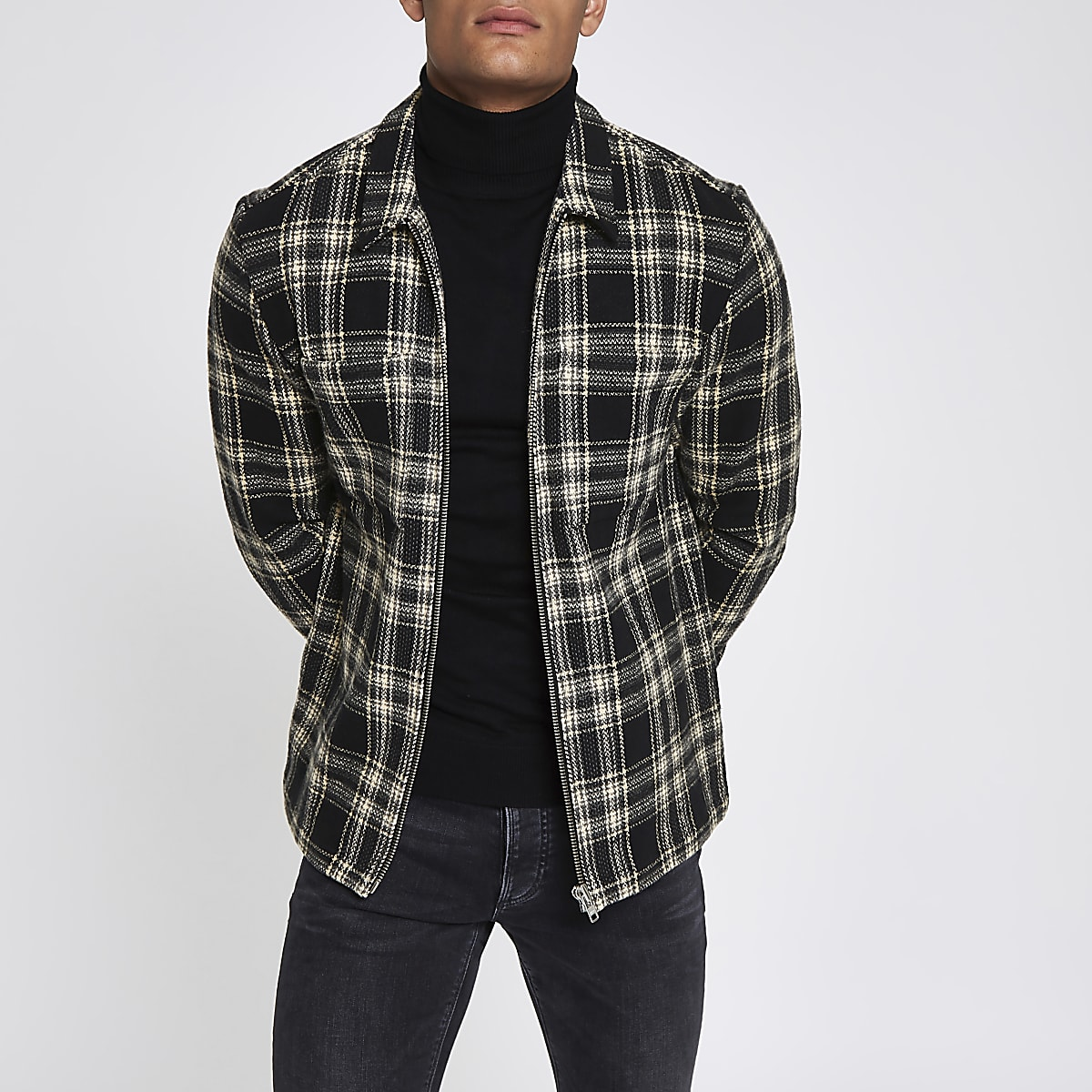 Navy check zip-up overshirt