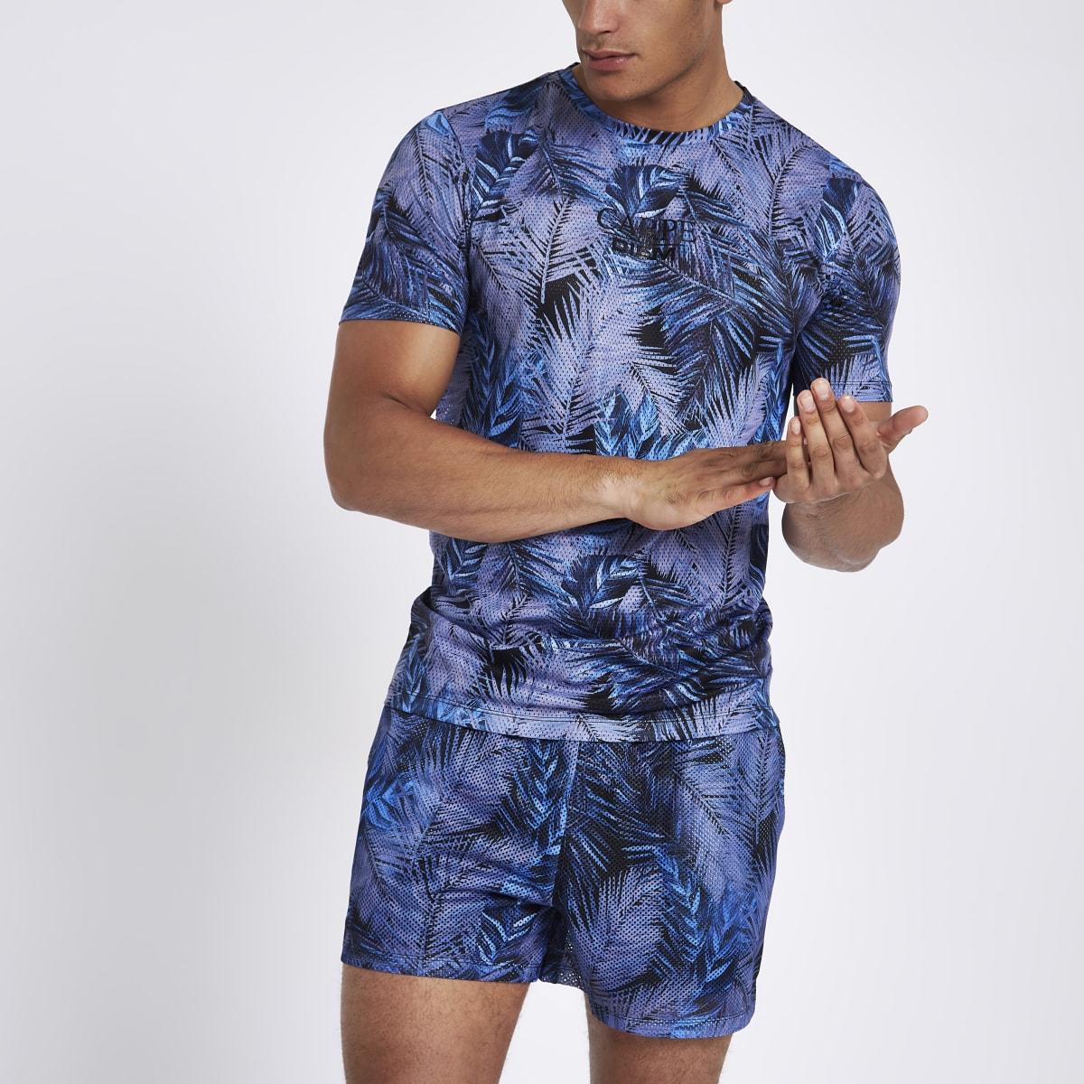 Blue palm print slim fit mesh T-shirt