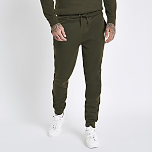Dunkelgrüne Slim Fit Jogginghose