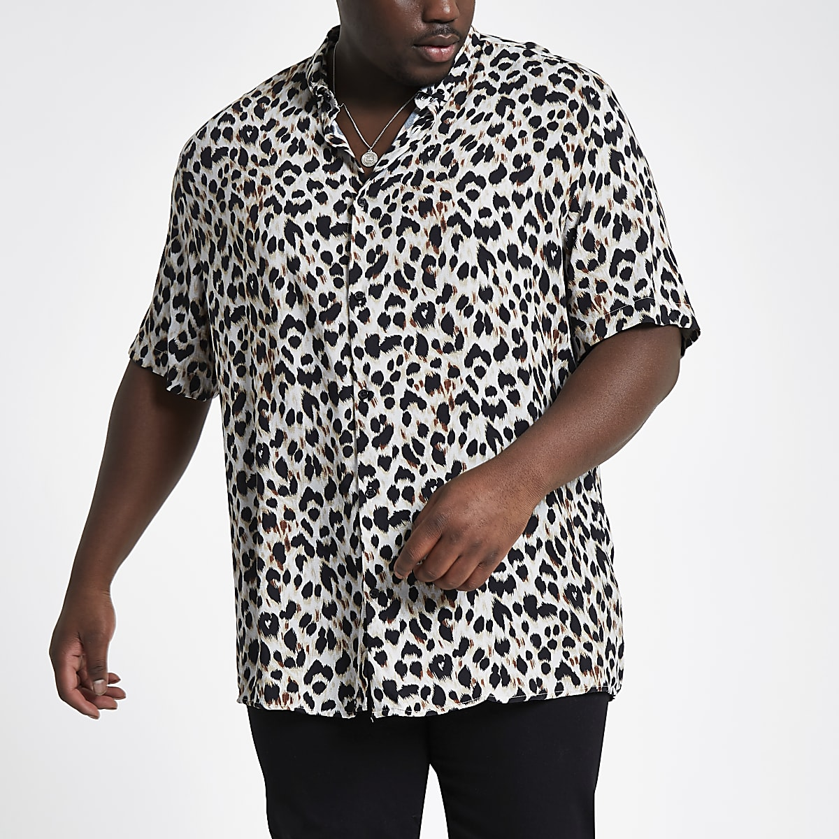 Big and Tall – Chemise imprimé léopard grise