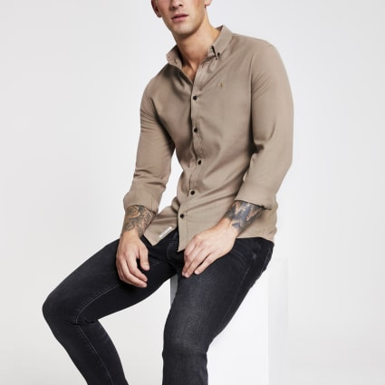 Stone flannel plain long sleeve shirt