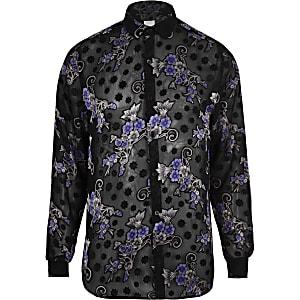 Chemise à fleurs noire à manches longues