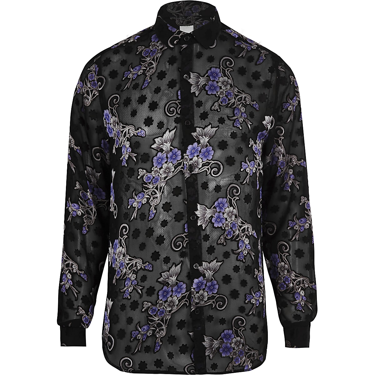 Black floral print long sleeve shirt