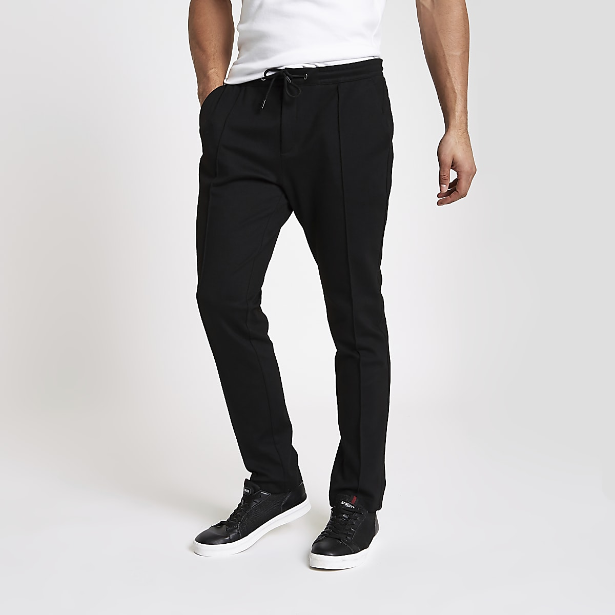 Black skinny fit jogger pants