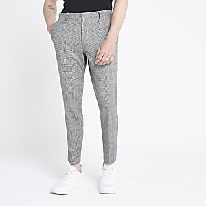 Grey check super skinny fit pants