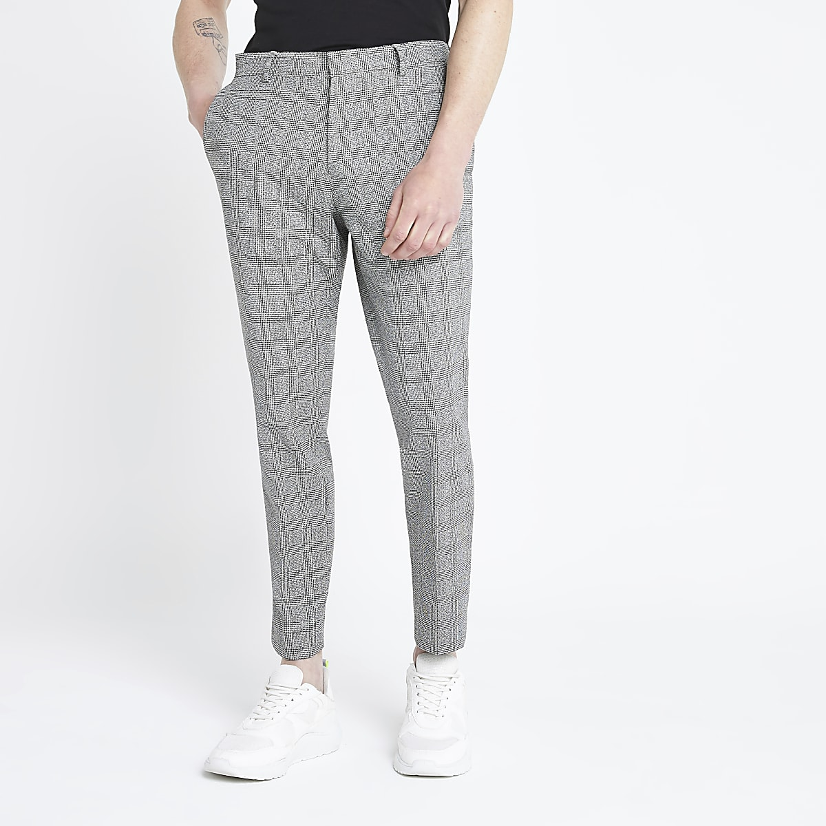 Grey check super skinny fit pants