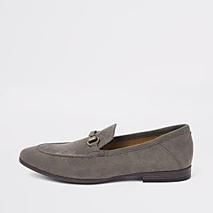 Graue Wildleder-Loafer