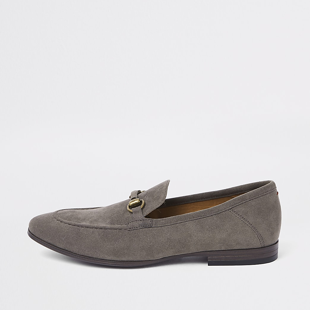 Grey suede snaffle loafers