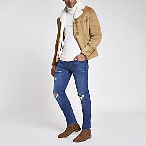 Dylan - Middelblauwe slim-fit stretch jeans met scheuren