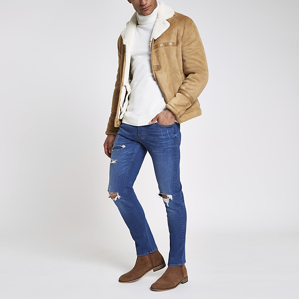 Mid blue Dylan slim stretch ripped jeans