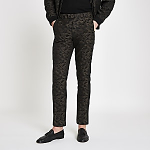 Green camo skinny fit smart pants