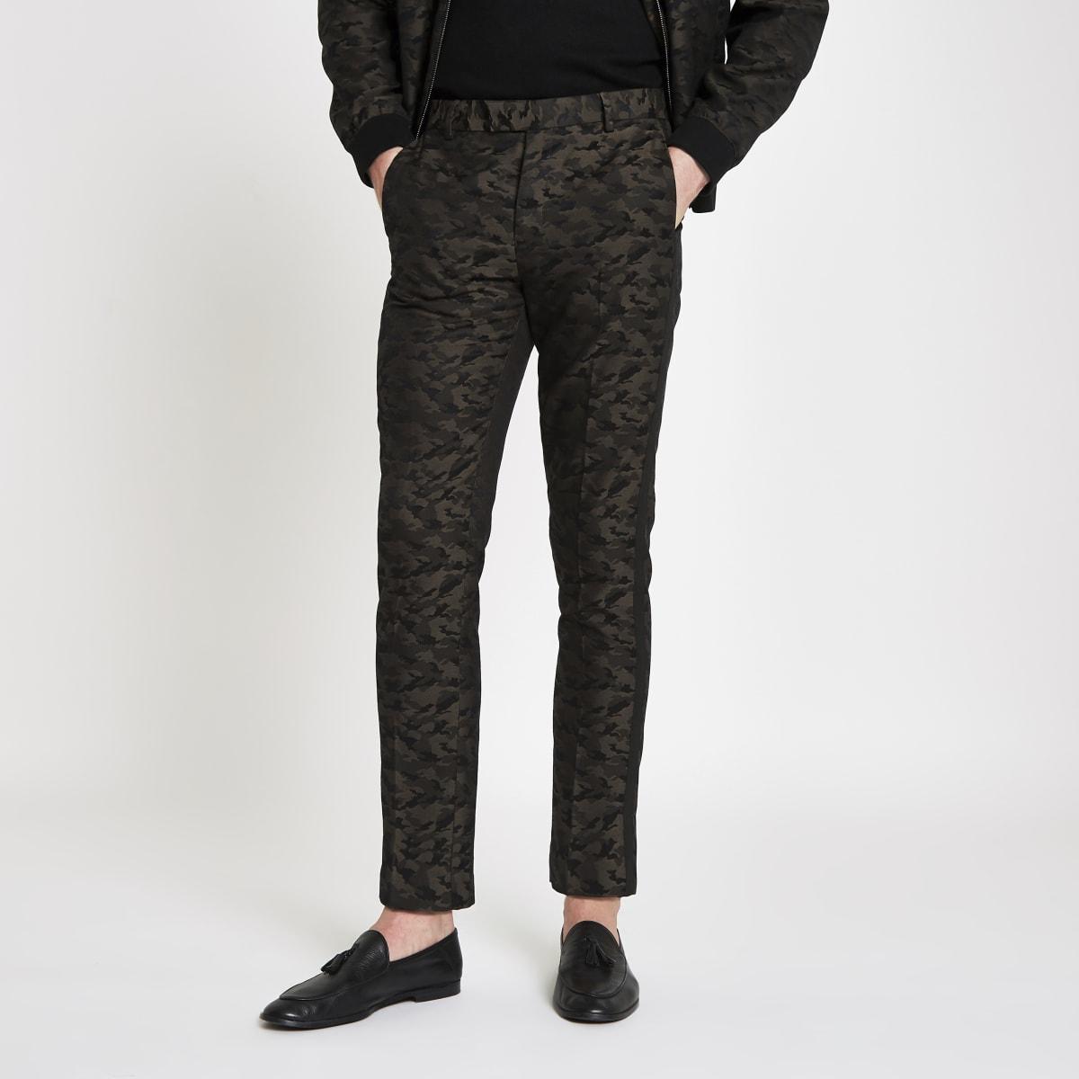 Pantalon skinny habillé motif camouflage vert