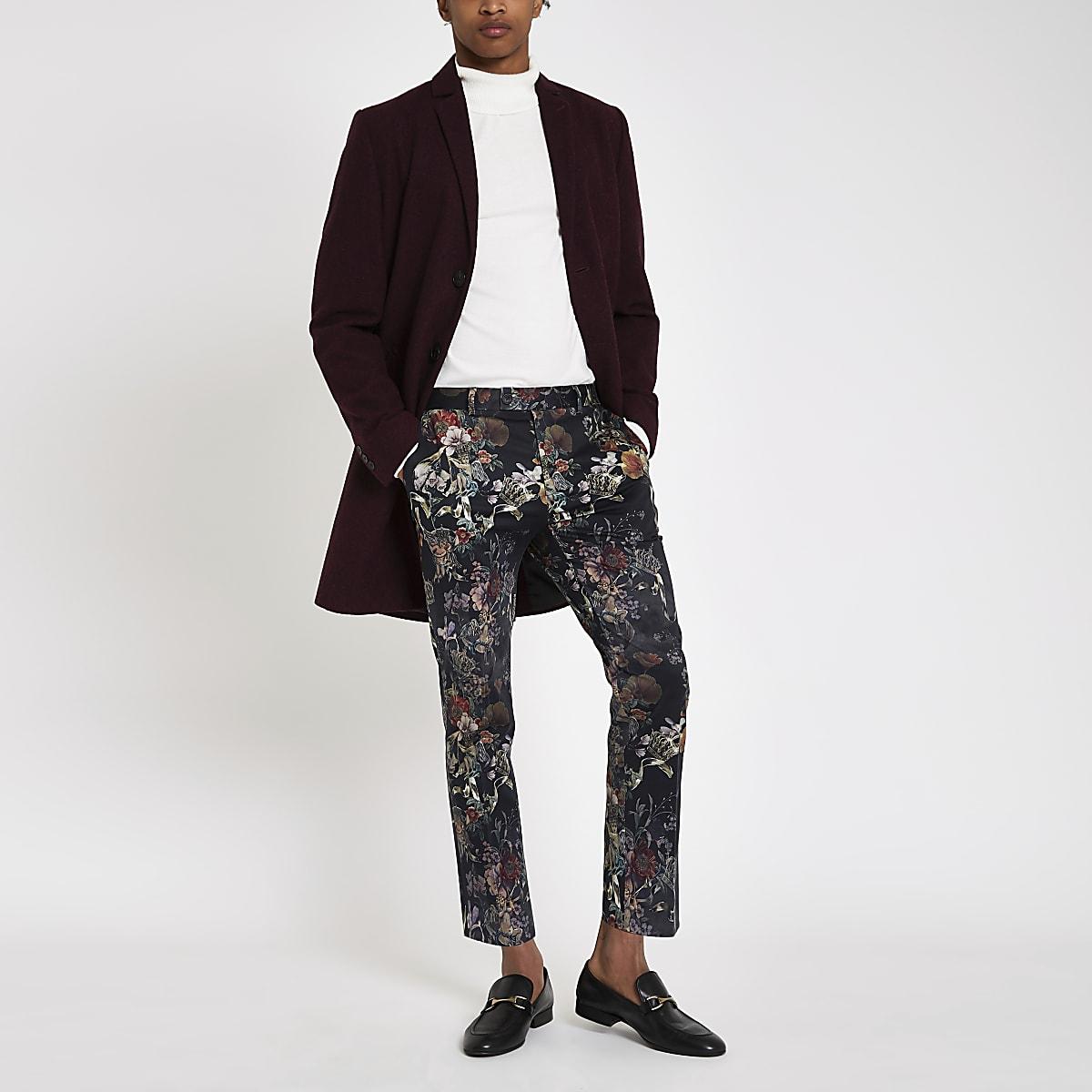 Ongekend Zwarte skinny cropped nette broek met bloemenprint   River Island WF-29