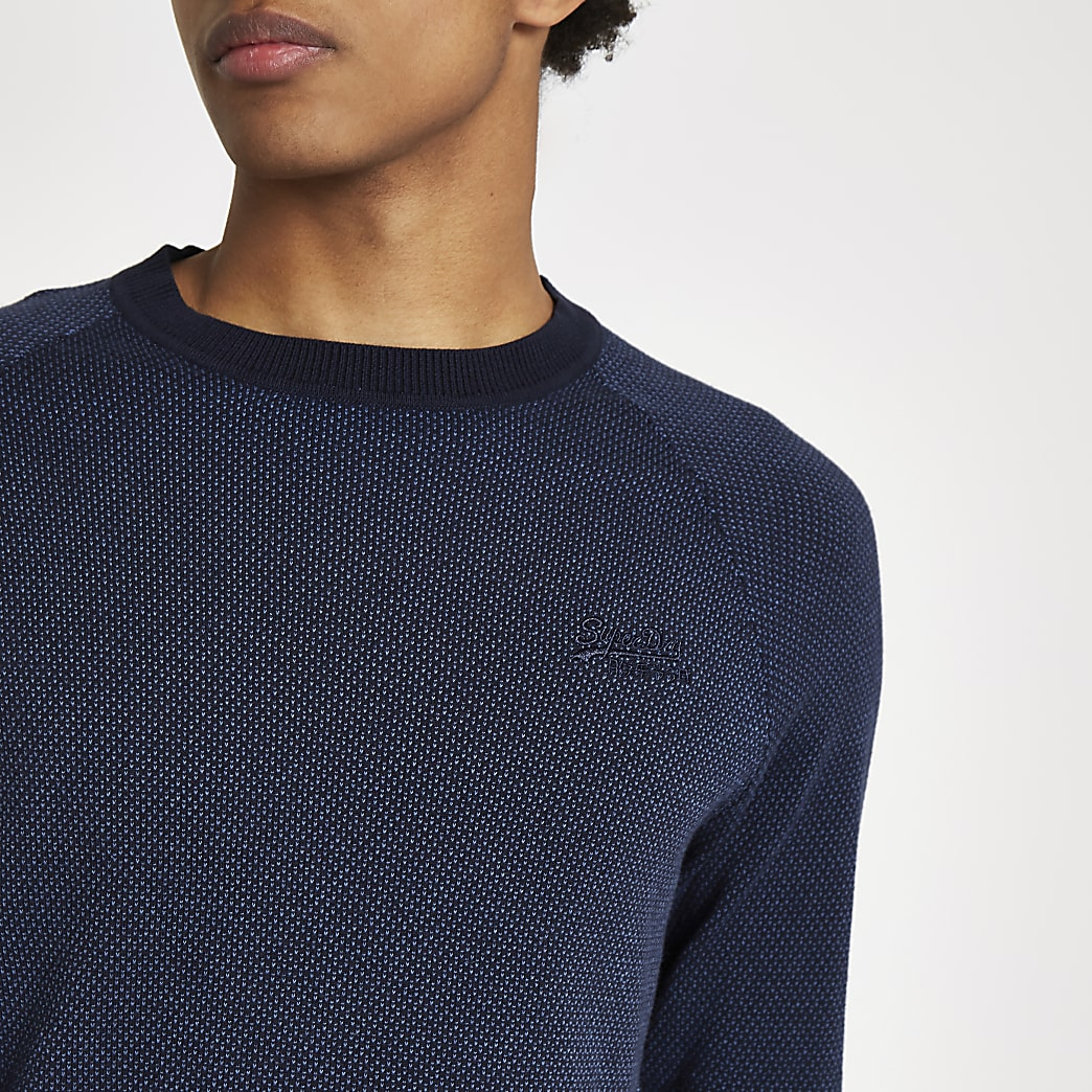 Superdry navy logo embroidery jumper
