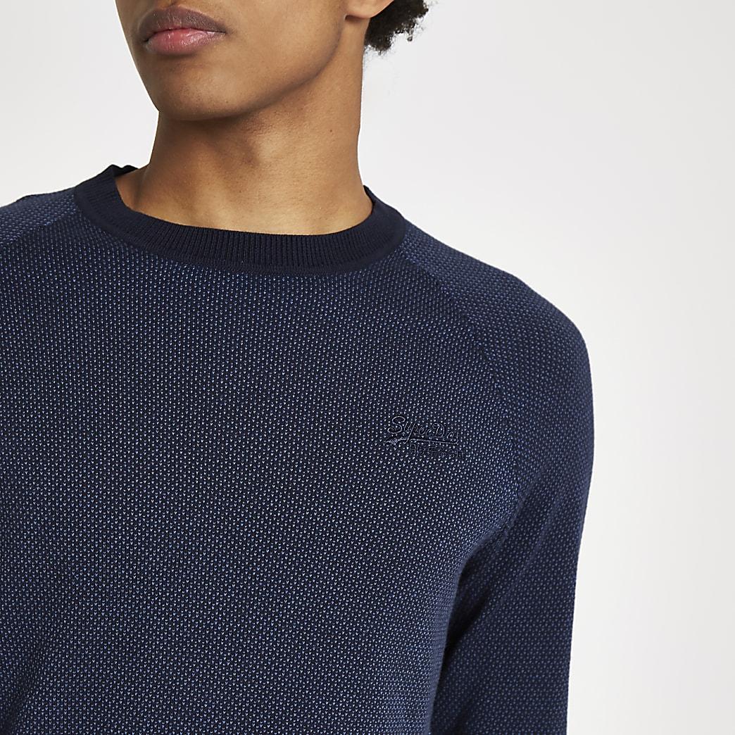 Superdry – Pull bleu marine à logo brodé