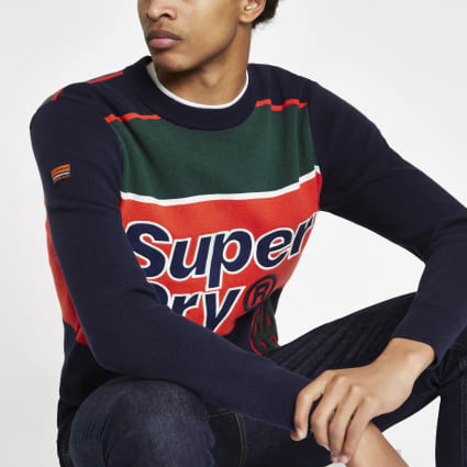 Superdry navy colour block jumper