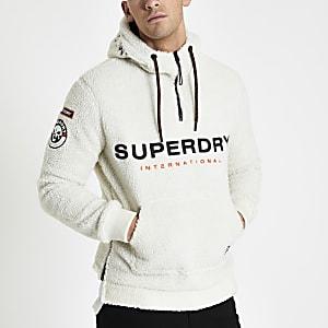 Superdry – Pull à capuche et col zippé imitation mouton