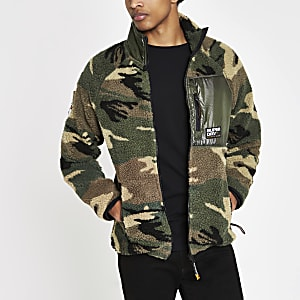 Superdry green camo zip up fleece jacket