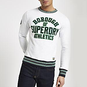 Superdry - Grijze pullover met contrasterend randje en ronde hals
