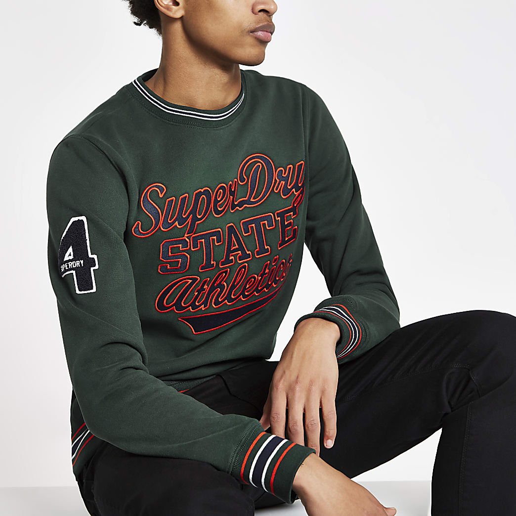 Superdry green tipped crew neck jumper