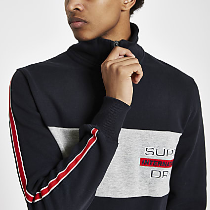 Superdry navy block funnel neck sweatshirt