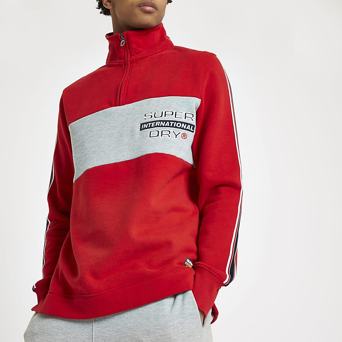 Superdry – Sweat rouge à col cheminée zippé