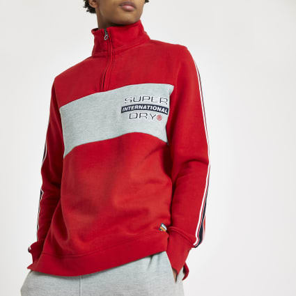 Superdry red zip funnel neck sweatshirt