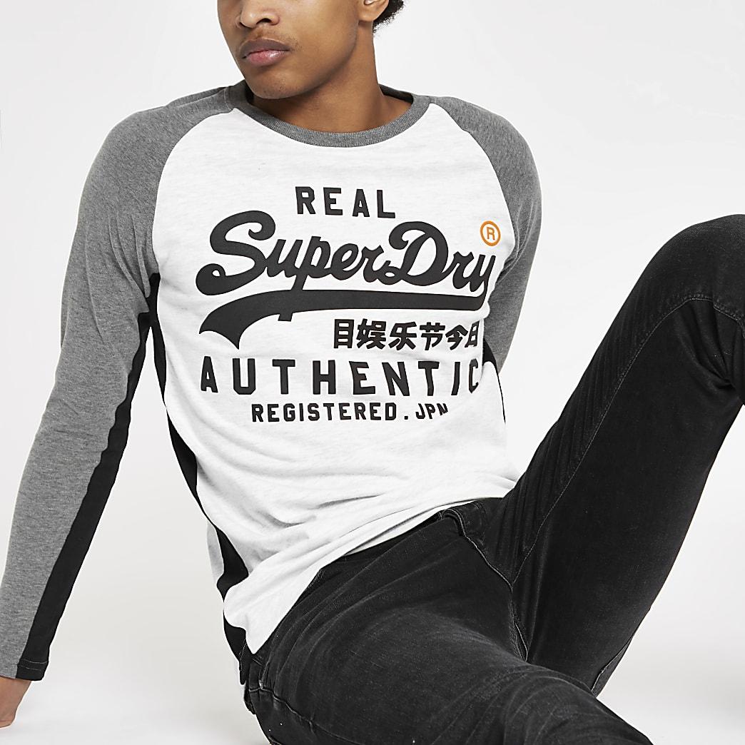 Superdry white raglan long sleeve T-shirt