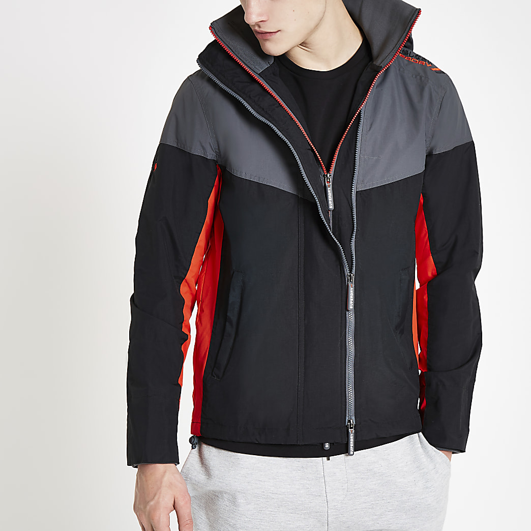 Superdry black hooded zip-up jacket
