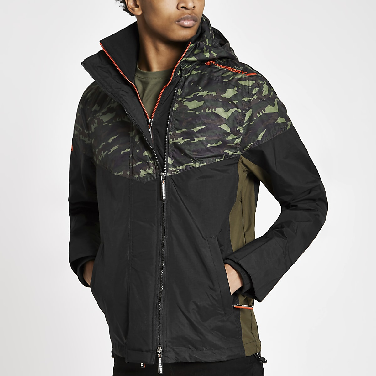 Superdry khaki camo hooded zip-up jacket