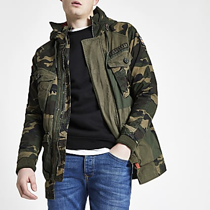 Superdry green camo parka jacket