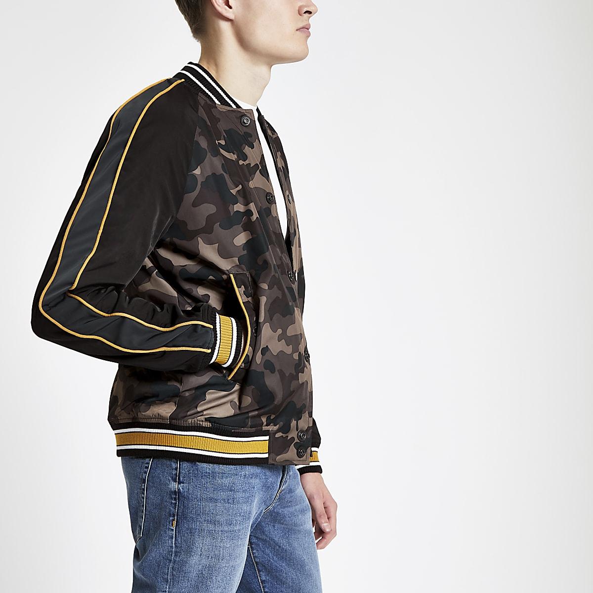 Superdry – Veste de baseball motif camouflage marron