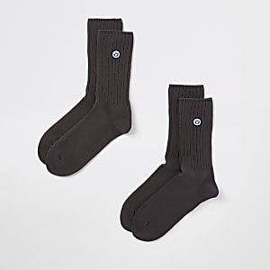 Superdry University – Lot de 2 paires de chaussettes grises
