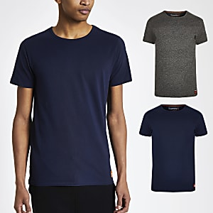 Superdry - Set van 2 marineblauwe slim-fit T-shirts