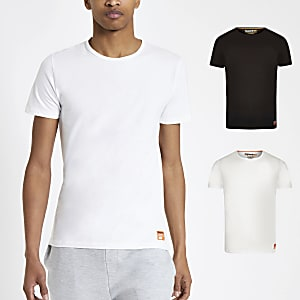 Superdry - Set van 2 witte slim-fit T-shirts