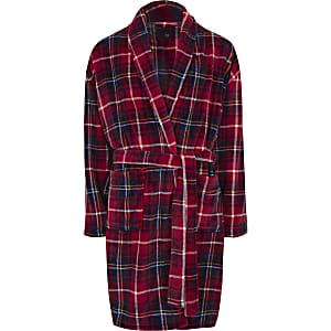 Robe de chambre en molleton R96 à carreaux rouge