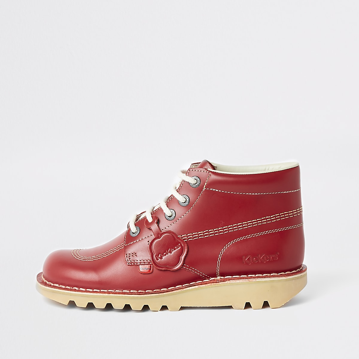 Kickers red leather lace-up boots