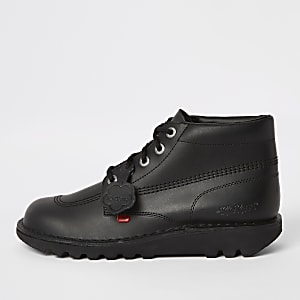 Kickers black leather lace-up boots
