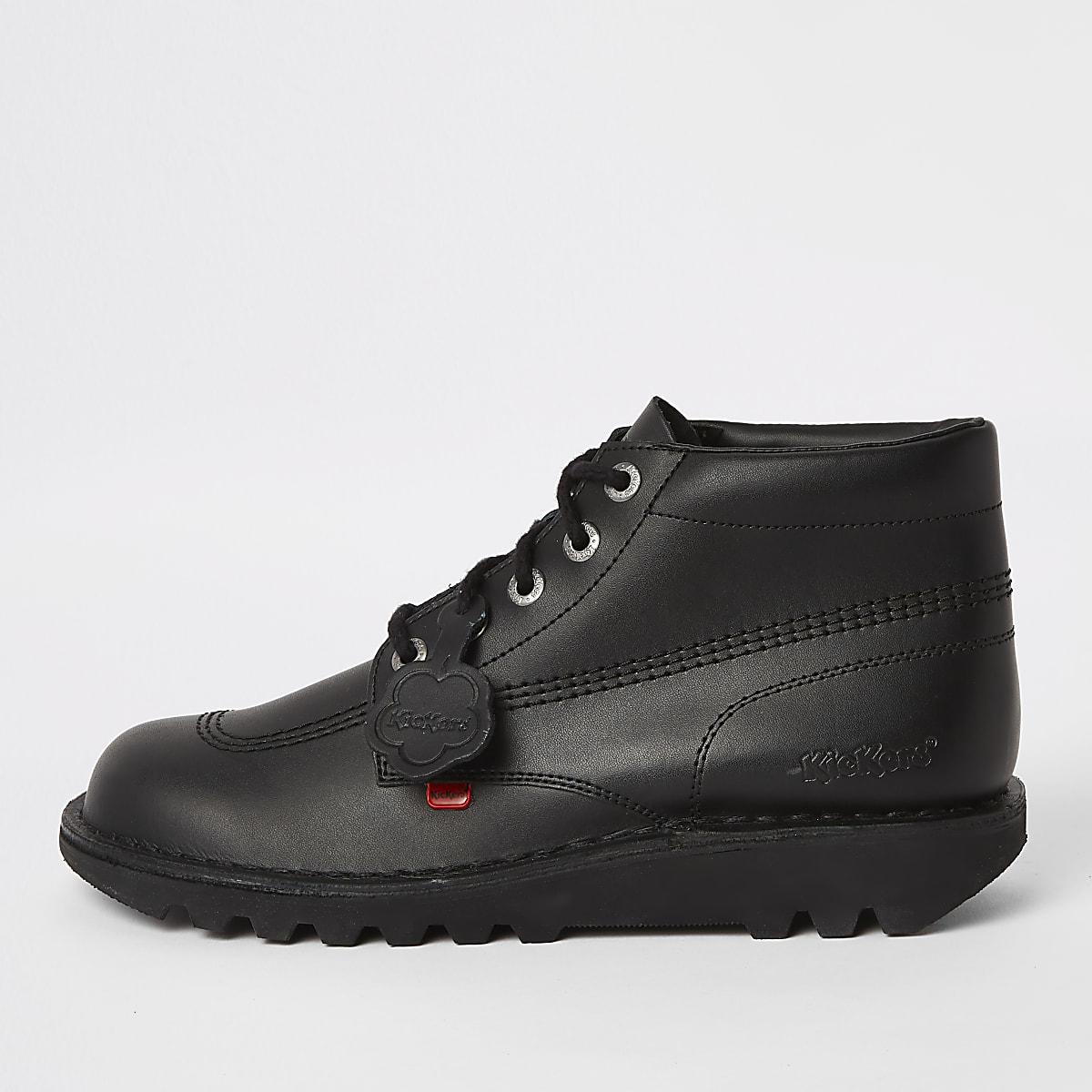 Kickers – Bottines en cuir noires à lacets