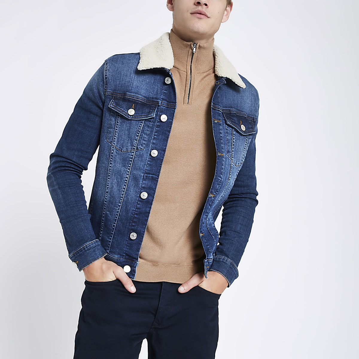 Blue borg collar muscle fit denim jacket