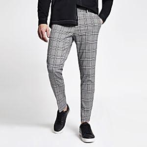 Pantalon super skinny court à carreaux gris